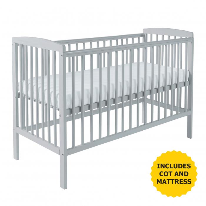 Sydney Cot Grey with Kinder Flow Mattress