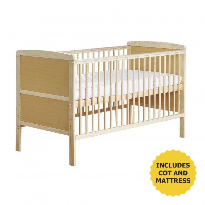 Sydney Cot Bed Natural with Kinder Flow Mattress