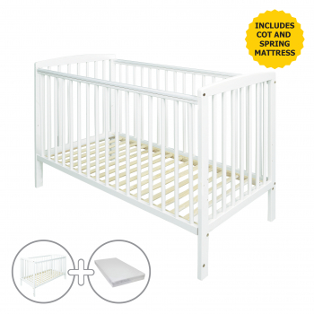Sydney Cot White with Spring Mattress