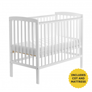 Sydney Compact Cot White with Kinder Flow Mattress