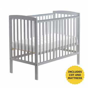 Sydney Compact Cot Grey with Kinder Flow Mattress
